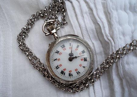 Bien-aimé Montre ancienne argent -pendentif -Panier - : VM79
