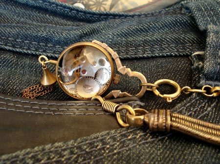 Montre Originale Cadeau : Montre steampunk mecanisme apparent id�e de cadeau originale