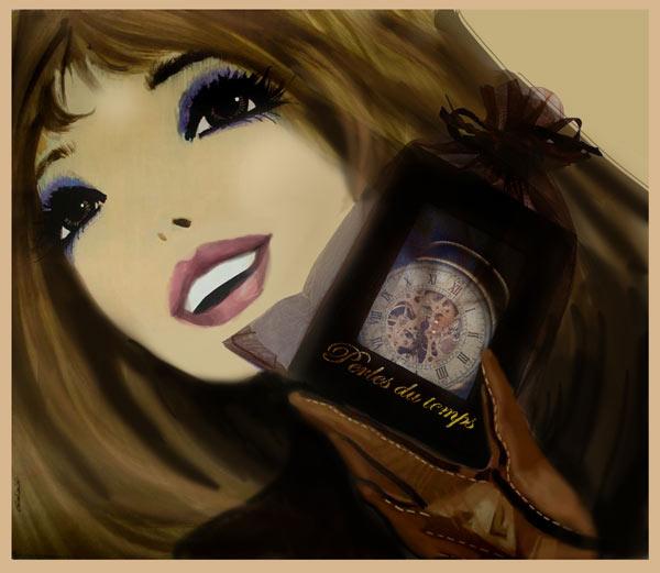 """idée cadeau ,montre de poche perles du temps,jolie boitier dans le étui d'organza. illustration réalisée par les graphiste de """"Perles du temps"""" ( l'inspiration de Kasibar_Grabiański )"""