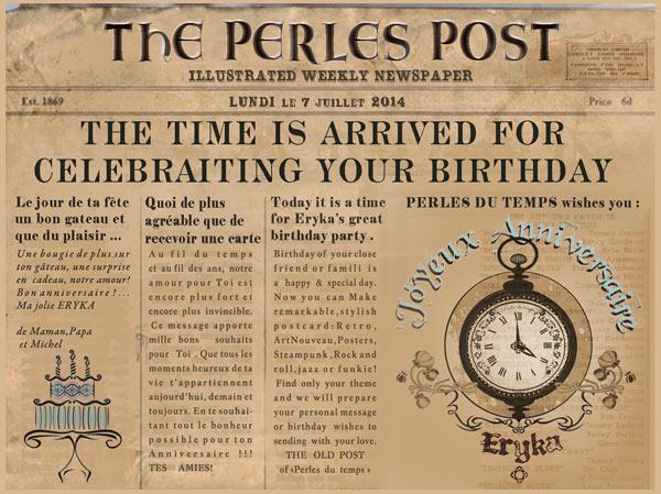 idée cadeau,perles du temps,des cartes personnalisé anniversaire